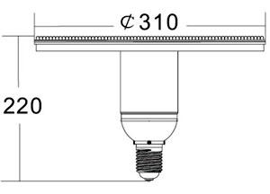 Размеры лампы N310-E40-90W