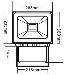 Габариты светодиодного прожектора NSFL 80W LED